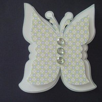 Dimensional Butterfly Shaped Note Card in Soft Greens on Handmade Artists' Shop
