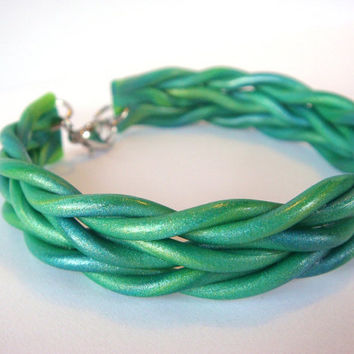 Blue and Green Bracelet  Braided / Knit Polymer Clay by JustClayin