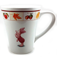 Piglet Winnie The Pooh Coffee Mug Disney 12oz Cup Autumn Fall Harvest Fruit k521