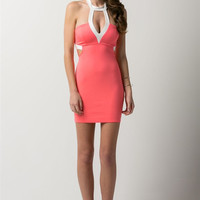 (amt) Cut out halter contrast neon pink dress