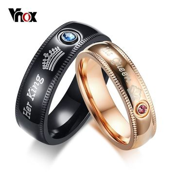 Cool Vnox Personalized Wedding Rings for Women Men Crown His Queen Her King Stainless Steel Engagement Bands Anniversary AllianceAT_93_12