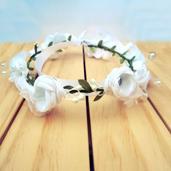 WHITE flower crown wedding, white rose halo, white flower hairpiece