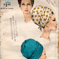 Vogue 6606 Sewing Pattern 1960s Designer Halston High Fashion Turban Ladies Hat Head Wrap Mad Men Style Uncut Head Size 22