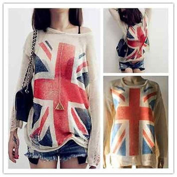 Women Fashion UK Flag hollow out loose Knitting Sweaters Pullover Tops = 1697510596