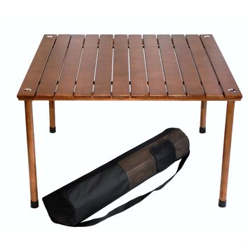 Portable Patio Table with Brown Solid Wood Top & Carry Bag