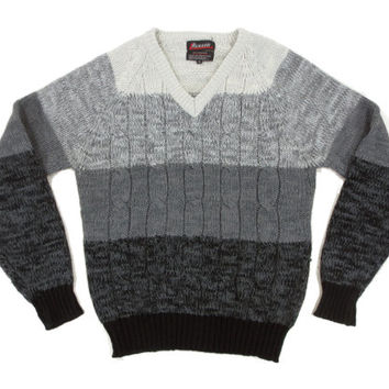 Vintage Grey Stripe Sweater - Pullover Cable Knit Black Ombre Melange 80's - Men's Size Medium Med M