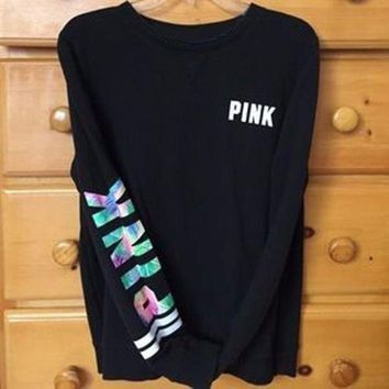 """PINK"" Victoria's Secret Women Print Round Neck Pullover Sweater T Shirt Top Blouse"