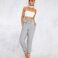 New New Fashionable Chffion High Waist Casual Women Pants With Bow Elastic OL Solid Pencil Trousers Hot