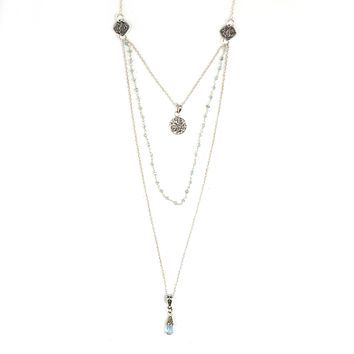 Blue Topaz Rosary Chain and Teardrop in Sterling Silver 3 Strand Necklace with Filigree Pendant