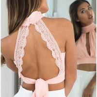 Lace You Back crop top in blush