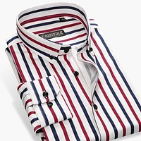 New Design Breathable Cotton Luxury Striped Men Shirts Button-down Slim Fit Business Casual Men Shirt