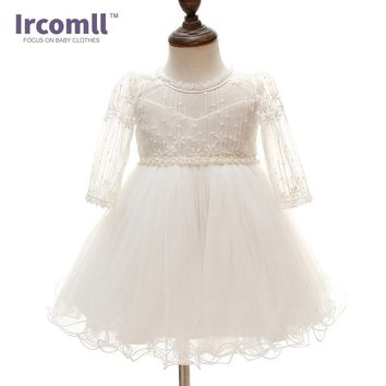Newborn Baby Girl Christening Gown Infant Girl's White Princess Lace Baptism Dress Toddler Baby Girl Chiffon Dresses