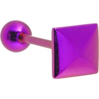 Purple Raised Square Anodized Titanium Barbell