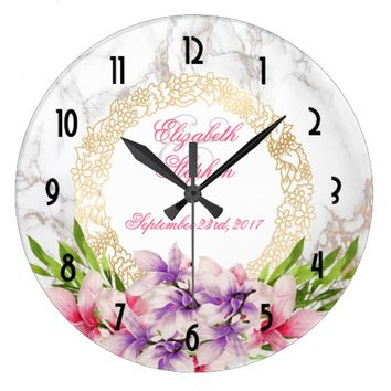 Watercolor Magnolias, Faux Marble Texture Wedding Large Clock