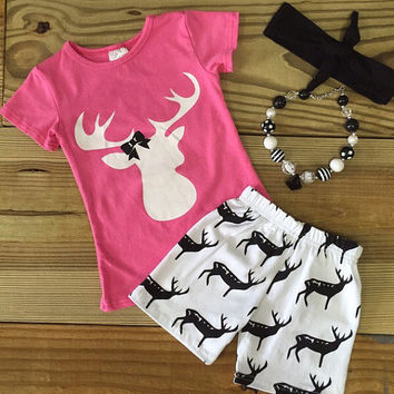 Hot Pink Deer Short Outfit