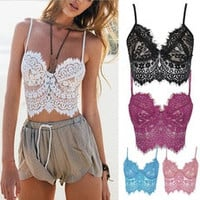 White Sheer Eyelash Lace Spaghetti Strap Crop Cami [9857362319]