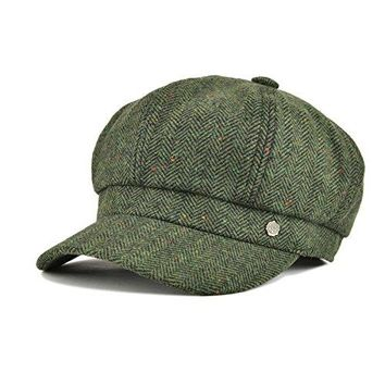 VOBOOM 8 Panel Wool Tweed newsboy Gatsby IVY Cap Golf Cabbie Driving Hat Herringbone