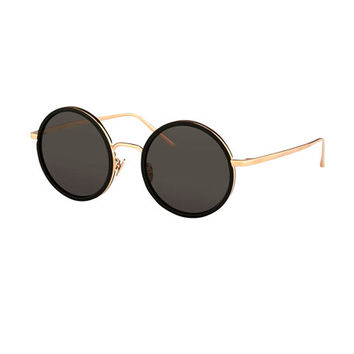 Linda Farrow Trimmed Round Monochromatic Sunglasses, Black/Rose Gold