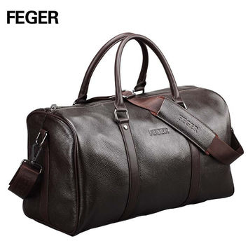 Free shipping FEGER brand fashion extra large weekend duffel bag big genuine leather business men's travel bag popular design