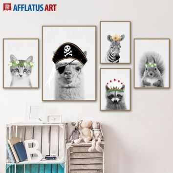 Cartoon Zebra Rabbit Cat Koala Squirrel Wall Art Canvas Painting Nordic Posters And Prints Animals Wall Pictures Kids Room Decor