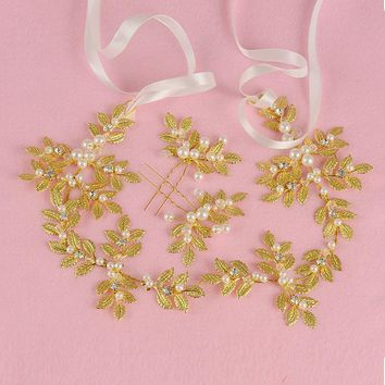 Golden metal leaf olive branch hair headband and hairpin