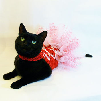 CoolCats Red and White Nutcracker Christmas Cat Tutu Dress