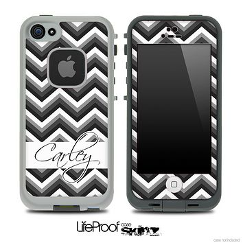 Name Script Black and White Chevron V4 Skin for the iPhone 5 or 4/4s LifeProof Case