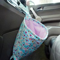 Water Resistant Car Trash Bag/Organizer Caddy for Gear Shift Teal and Purple Flowers with Orchid Lining Washable Car Trash/Waste/Refuse Bag