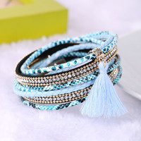 Braided Multilayer Rhinestone Leather Bracelet Femme 2016 Brazilian Beach Magnet Buckle Tassel Friendship Bracelets Boho Jewelry