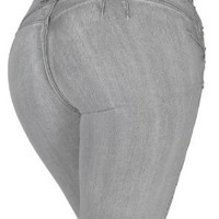 Silver Diva DJ1263-B Colombian style Sexy Stretch Butt lifting Skinny jeans