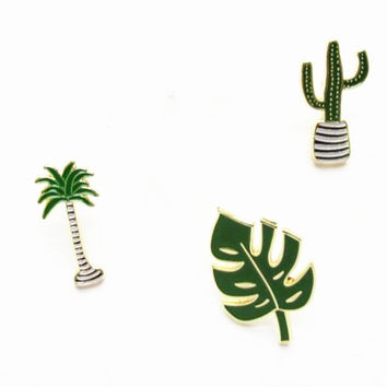 X033 Cute Oil Drop Cartoon Tree Metal Brooch Pins,Fashion Jewelry