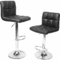 Roundhill Furniture Swivel White Bonded Leather Adjustable Hydraulic Bar Stool, Set of 2