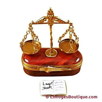 SCALES OF JUSTICE LIMOGES BOX