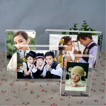 Free standing Double Sided Seethrough Acrylic Magnetic Photo Picture Frame with Round Corner PF014