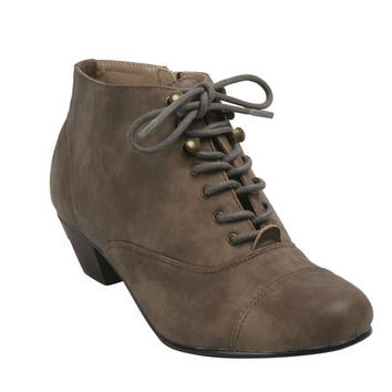 BONNIBEL BONNIBE TRYNN-1 Women's Round Toe Lace Up Side Zipper Chunky Ankle Booties Boots