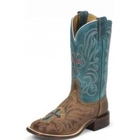 Tony Lama San Saba Ladies Boots Tan Vintage Cow with Teal Century Top