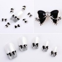 Yesurprise Black Silver Bow Tie 10 pieces Silver 3D Alloy Nail Art Slices Glitters DIY Decorations