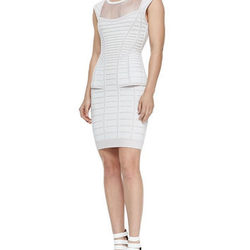 Posh Girl White Peplum Mesh Bandage Dress