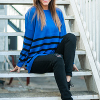 Line Up Sweater, Royal/Black
