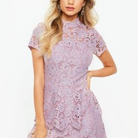Missguided - Tall Pink Short Sleeve Layered Lace Dress