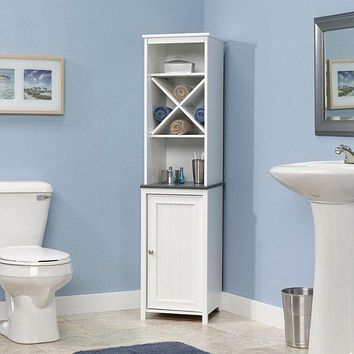 Bathroom Linen Tower with Open Shelving and Storage Cabinet in White