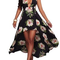 Black Floral Tie Back Cut Out Backless High-low Halter Neck Maxi Dress