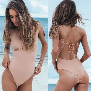 2018 Backless Bandage One Piece Swimsuit Sexy Hollow Out Bathing Suits Plus Size Swimwear Women Bodysuits Monokini High Cut XL