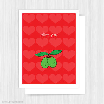 Valentine Card For Boyfriend Girlfriend Husband Wife Valentines Day Olive You Pun Funny Fun Handmade Greeting Cards Gifts Gift Idea Her Him