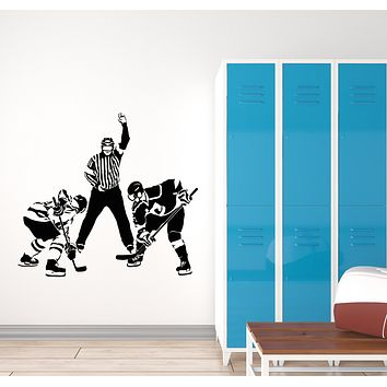 Vinyl Wall Decal Winter Sports Hockey Players Arbitrator Sports Fan Stickers Mural (g1854)