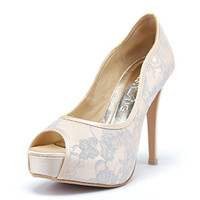 Milky Way Gold Wedding Shoes with Lace