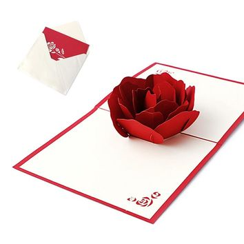 3D Pop UP Holiday Greeting Cards Red Flower Christmas Thanksgiving Creative Gift -Y102