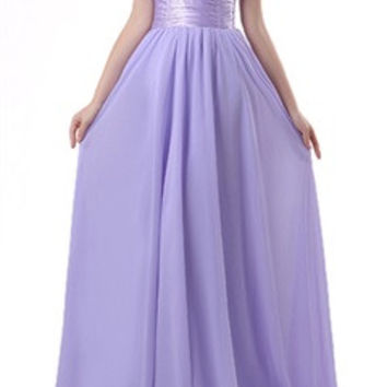 Silky Waistband One Shoulder Soft A-Line Dress In Lavender