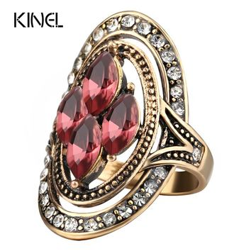 Kinel Fashion Purple Crystal Rings Bijoux Femme Antique Gold Mosaic Crystal Wedding Ring Vintage Jewelry 2017 New