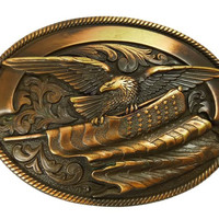 Nocona Oval Rope Edge Eagle Flag Antique Buckle